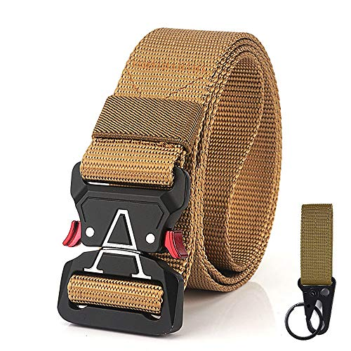 TENINE Cinturón Táctico, Cinturón Militar de Nailon de 1.5 Pulgadas Táctico Resistente con Correa de Metal de Liberación Rápida para Equipo EDC Molle Táctica Cinturón (Caqui 03)