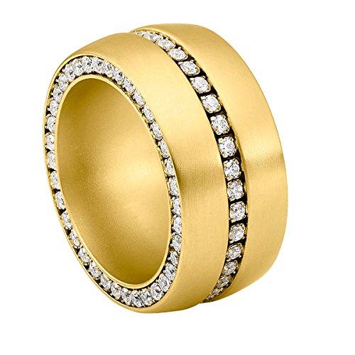 Heideman Ring Damen Ductus aus Edelstahl Gold farbend matt Damenring für Frauen mit Swarovski Stein Zirkonia Weiss im Brillant Schliff 1,5mm