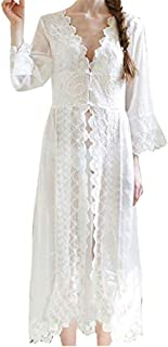 Women Nightgown Chiffon Embroidery Dress Sheer Lace Nightwear Sleepwear Cover up Sexy Robe Pajamas