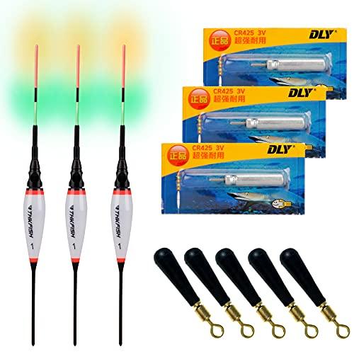 THKFISH 3 Stück Angelposen LED Posen Angeln Zubehör Posen LED Leuchtpose Angelposen Set 1#