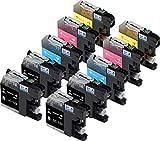 Skia Ink Cartridges Cartouche d'encre compatible pour Brother LC123 (Noir/ Cyan/ Magenta/ Jaune Pack de 10)
