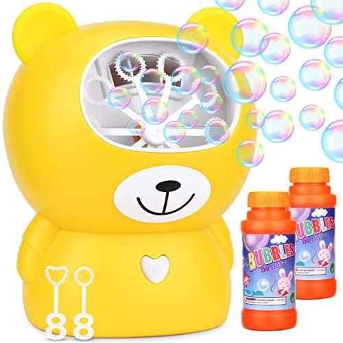 Dkinghome Kinder Seifenblasenmaschine Automatische Blasenblasmaschine Bubble Maker Blower Machine Seifenblasenset 1000 Blasen pro Minute USB Wiederaufladbar + 2 Liquid Flaschen-Gelb