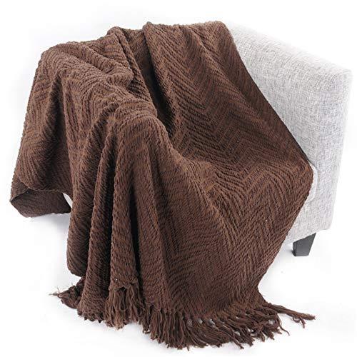 SBDLXY Manta de Punto con Borla, Suave y cálida Manta de Peluche, Manta de Punto Hecha a Mano para salón, Oficina (marrón, 125 x 150 cm).