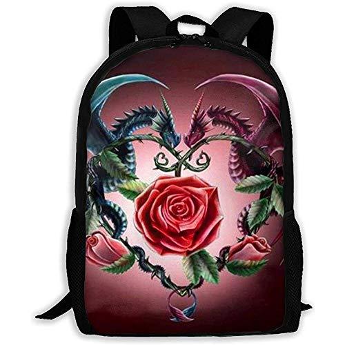 Zwei Drachen und Rose Erwachsenenrucksack Leichte Reiserucksack Unisex Schultern Tasche