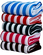 Goyal's Supersoft Single Bed Colorful Stripes Fleece Blanket - Set of 5