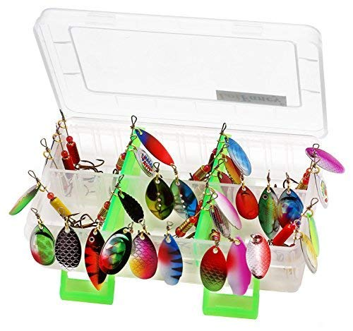 LotFancy Fishing Lures, 30PCS Spinner Baits for Bass Trout Walleye Pike Salmon Fishing, Assorted Saltwater Freshwater Spinner Lures Kit with Tackle Box