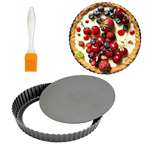 8 Inch Tart Pan 2 Pack Removable Bottom Quiche Pan Non-Stick Pie Tart Baking Dish Pan Carbon Steel Quiche Pan for Kitchen Cooking Baking