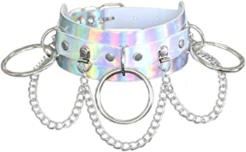 Fashionsupermarket Unique Halloween Sexy Hologram Holographic Leather Chokers,Gothic Ring Pendant Chokers for Night Wearing Club Cosplay