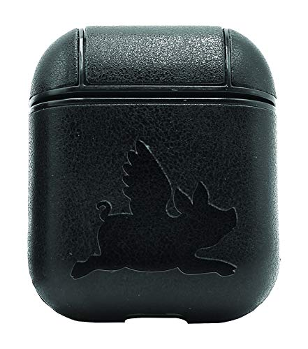 Flying Pig Silhouette (Vintage Black) Air Pods Protective Leather Case Cover - A New Class of Luxury to Your Airpods - Premium Pu Leather and Handmade Exquisitely by Master Craftsmen