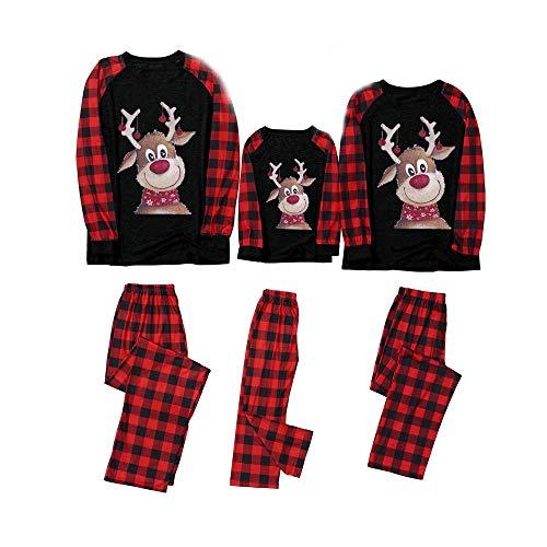 Weihnachten Schlafanzug Familie Bekleidungssets Weihnachtspyjamas Rot Plaid Patchwork Grau Pullover Tops+Hosen Strampler, Mama Papa Kleinkinder Baby Nachtwäsche Christmas Party Xmas Kleidungs