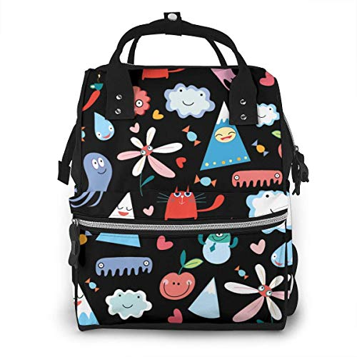 UUwant Sac à Dos à Couches pour Maman Large Capacity Diaper Backpack Travel Manager Baby Care Replacement Bag Nappy Bags Mummy Backpack,(Cute Smile Face