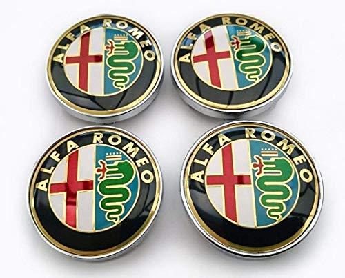 4 tapones para tapacubos de 60 mm de grosor, para Alfa Romeo Giulietta 159, 146, 156, Brera, escudo Fregi, solo para llantas compatibles