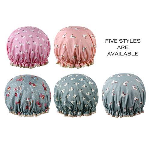 Vtrem 5pcs Bonnet De Douche Bonnet De Bain Spa Femme Imperméable Réutilisable Double Couche Épaisseur PEVA [Motif Licorne + Flamingo + Fillette]