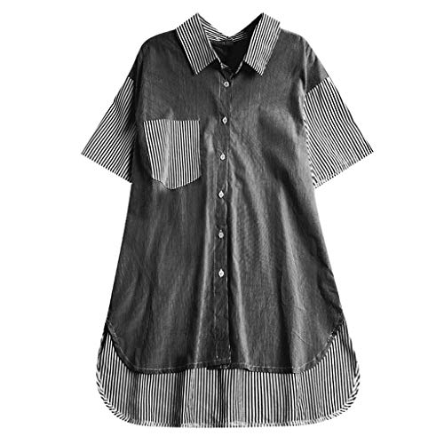 TWGONE Tunic Shirts for Women to Wear with Leggings Plus Size Button Up Striped Blouse Top (X-Large,Black)