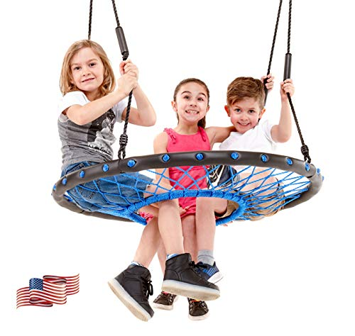 Smartsome Spider Web Saucer Tree Swing | 40 Inch | Tire Swing | Hours of Outdoor Fun | Soft Handles for Comfort | Patented | Easy Assembly | Great Kids Swing for Trees | Rust Proof | Indoor & Outdoor