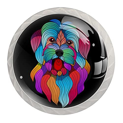 Tiradores y pomos para gabinete de perro estilizados coloridos con tiradores de cajón y pomos decorativos en el armario de baño con tornillos largos y cortos