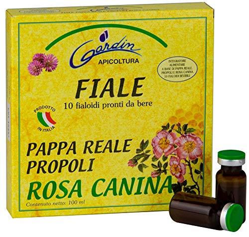 GARDIN 10 FIALE PAPPA REALE, PROPOLI, ROSA CANINA. Integratore alimentare a base di pappa reale e propoli,pronti da bere.contenuto netto 100ml
