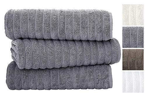 Classic Turkish Towels Luxury 600 GSM Bath Towel Set | Soft Thick and Absorbant Bathroom Towels, 100% Turkish Cotton Jacquard Rib Style (40X65 Bath Sheets, Grey)