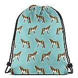 AEMAPE Kordelzug Tasche Englisch Foxhound Hund Rucksack Sporttasche Cinch Tasche Aufbewahrungshosen Sport Gym Sack Multifunktionaler Kordelzug Rucksack