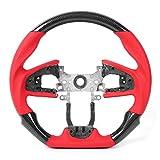 EBTOOLS Volante personalizado mejorado Volante de fibra de carbono negro Cuero perforado con costuras rojas para Hon-da Civic FC FK8 Type-R 2016-2020