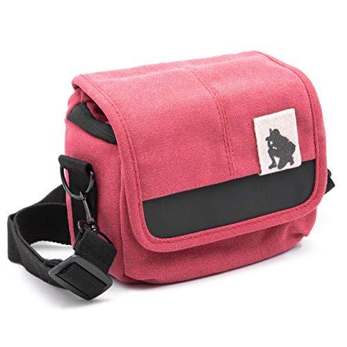vhbw Kamera-Tasche passend für Panasonic Lumix DC-TZ91, DMC-FZ1000, DMC-FZ2000, DMC-FZ300 Canvas rot, grau