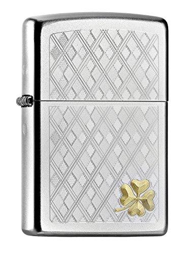 Imagen del productoZippo Feuerzeug PL This Stunning Four Leaf Clover Encendedor, latón, Acero Inoxidable, 1 x 3,5 x 5,5 cm