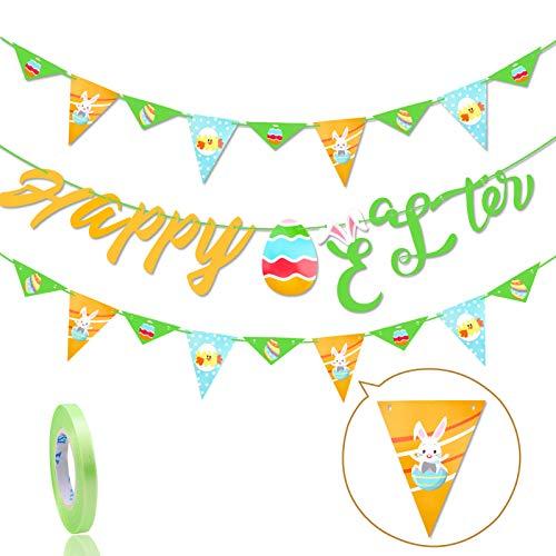 HOWAF Banner di Pasqua Decorazione Buona Pasqua Bandiere Ghirlanda, Uovo di Pasqua Coniglio Bunting Banner Triangolo Fai da Te Pennant Pasqua Festa di Compleanno Baby Shower Decorazione