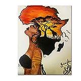 Klassische afrikanische Frau Gemälde an der Wand abstrakte Sonnenuntergang Landschaft Wand Kunst Leinwand und Poster Bilder Home Decor-60x80cm Kein Rahmen