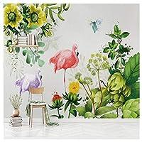 Wkxzz 壁の背景装飾画 シンプルなスタイルの壁紙手描きの植物ピンクの鳥壁画リビングルームのホームデコレーション現代壁画の葉-150X120Cm