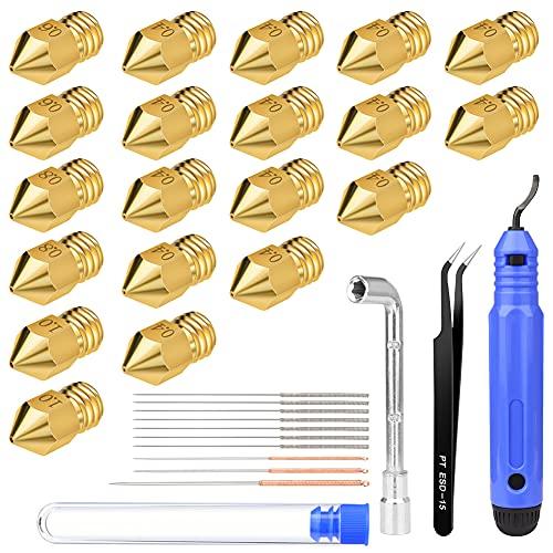 20 ugelli per stampante 3D, CRRMW MK8, estrusore Nozzle da 0.4 mm, 10 pezzi, 0.6 mm, 0.8 mm, 1.0 mm, strumento per la pulizia degli ugelli, per stampanti 3D Anycubic Mega/Creality CR-10/Ender