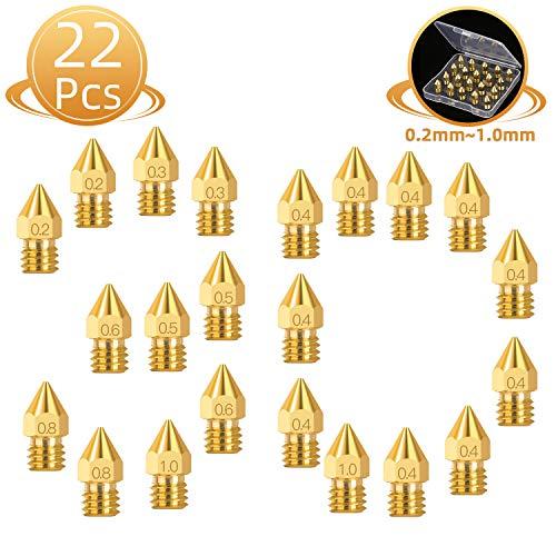 Ugello Stampante 3d,Estrusore Stampante 3d,Mk8 Extruder Nozzle 22pcs,Ugello Estrusore In Ottone 0,2 mm,0,3 mm,0,4 mm,0,5 mm,0,6 mm,0,8 mm,1,0 mm Per Mk8 Makerbot,Stampante Anet A8 E Cr-10