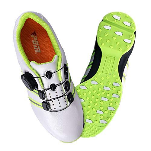 NAMENLOS Unisex-Kinder-Junior-Golfschuhe Leichte, strapazierfähige und Bequeme Turnschuhe Atmungsaktiver Teenager-Sportschuh mit Seitenschlupfschutz,White,36
