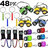 Survival Favors & Prizes, 48 Pieces - 12 Toy Binoculars, 12 Flashlights, 12 Compasses, 12 Magnifying Glass. Great for Scouts, Explorer, Camping, Hikes, Outdoor and Adventure Theme Parties