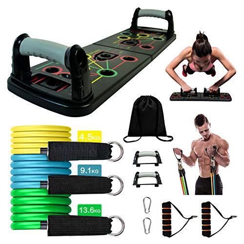 Impugnature per flessioni push-up, fasce di resistenza, set di attrezzi per allenamento a casa, Set da 11 pezzi., Taglia unica