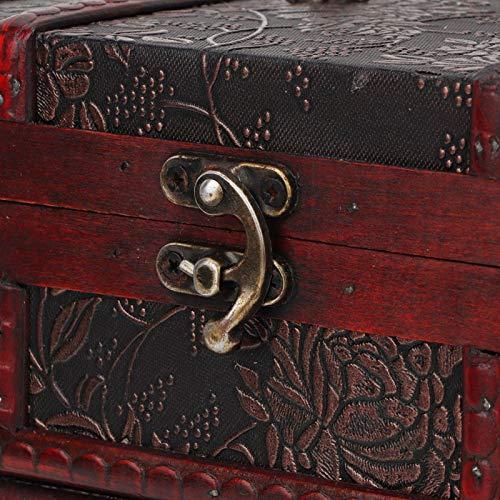 Omabeta Con espejo Trinkets Caja de almacenamiento de madera Joyero de almacenamiento Pendientes de pulsera para collar