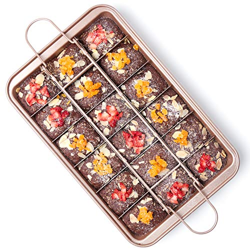 Brownie Pan with Dividers Nonstick Brownie Pans and Cutters Make 18 Precut Brownies at Once Perfect Individual Brownie Baking Pan All Edge