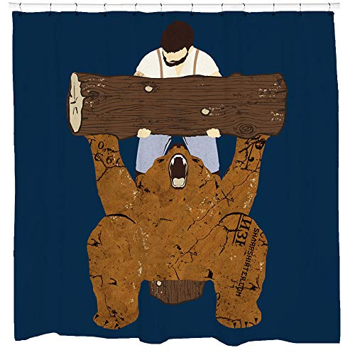 Sharp Shirter Funny Gym Shower Curtain Set Cool Bear Artwork Woodland Decor for Mancave Bathroom Tree Art Hooks Included