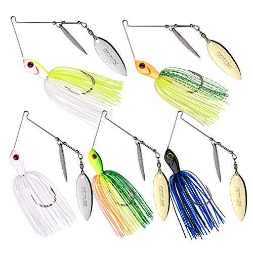 Goture Spinnerbait Double Willow Blade Spinner Baits Fishing Lure for Bass Pike Trout 1/2oz (5 Pack)