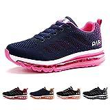 Air Zapatillas de Running para Hombre Mujer Deporte Zapatillas de Trail Deportivas Ligero Fitness Gym Zapatos para Casual Gimnasio Correr Sneakers Athletic Transpirables(Talla 36EU, Azul Rosa)