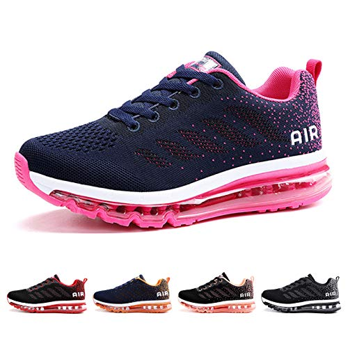 Air Zapatillas de Running para Hombre Mujer Deporte Zapatillas de Trail Deportivas Ligero Fitness Gym Zapatos para Casual Gimnasio Correr Sneakers Athletic Transpirables(Talla 41EU, Azul Rosa)