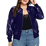 Aniywn Women's Coat Plus Size Loose Lace Long Sleeve Zipper Cardigan Tops Casual Shawl Cover Up Blouse Blue