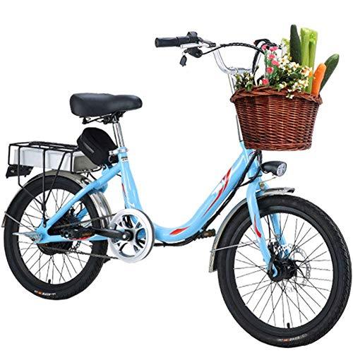 WXDP Semovente Bicicletta elettrica da Donna per Adulti, Mini Bici elettrica da 20 Pollici Cambio a 7 velocità 48V 8 / 10Ah Batteria per pendolarismo Ebike con Freni a Doppio Disco sul Sedile pos