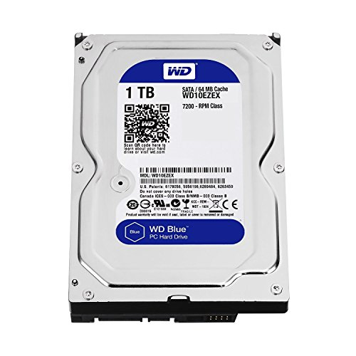 "Western Digital(WD) BLUE Deskptop 1TB( 1Terabyte) 3.5""Hard Disk Drive, 5400~7200RPM, SATA3 ( 6.0GB/s), 64MB Cache, IDEAL for PC/Mac/CCTV/NAS/DVR/Raid and SATA Applications, 1YR Warranty (Blue)"