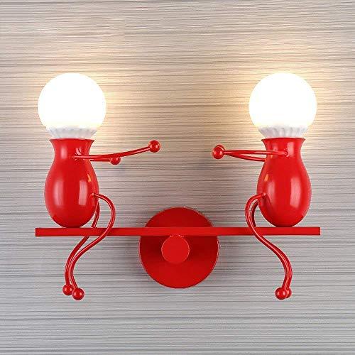 Persoonlijkheid 2 lampen metalen schommel wandlamp creatieve machine Little Iron Man wandlamp lamp kinderen slaapkamer bedlampje, wit