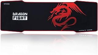 EXCO Extra Largas Ratón de Juego Pad, 900×300×5mm de grosor, Tamaño Grande Alfombrilla de Ratón con Superficie Lisa y Precisa de Seguimiento (negro) Color Dragón Rojo