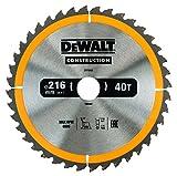 Dewalt DT1953-QZ Construction Circular Saw Blade 216mm x 30mm x 40T, Yellow/Black, 216/30