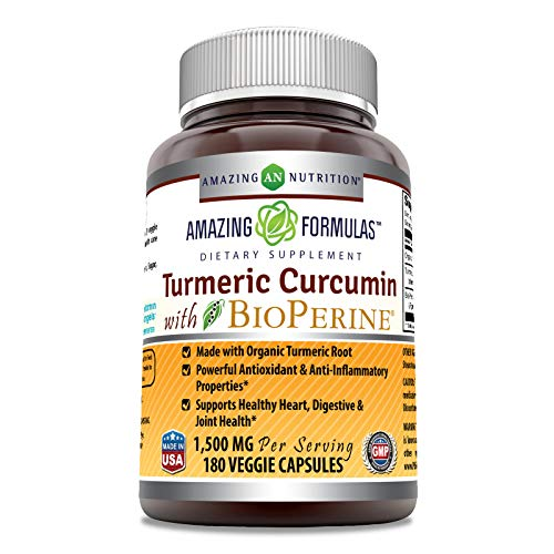 Amazing Formulas Turmeric Curcumin BioPerine 1500 Mg Per Serving Capsules (180 Capsules) - -Powerful Antioxidant & AntiInflammatory Properties.
