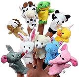 Retoo 10 stücke Fingerpuppen mit Klein Tierfiguren, Finger Plüschtier Set für Geburtstag, Kinder Party, Taufe, Babyparty, Oster, Plüschfigur für Baby, Jungen und Mädchen, handpuppen mit Plüsch Tiere