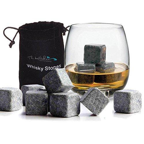Whisky Stones Eiswürfelsteine aus Granit, wiederverwendbar, Granit, grau, 12 x Whisky Stones