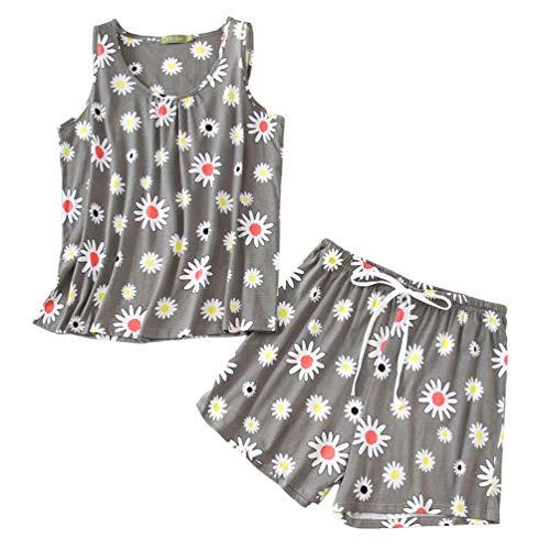 ENJOYNIGHT Pigiama da donna, corto, estivo, set di pigiama in cotone, 2 pezzi, biancheria da notte con pantaloncini per donna, M-3XL fiore XXXL